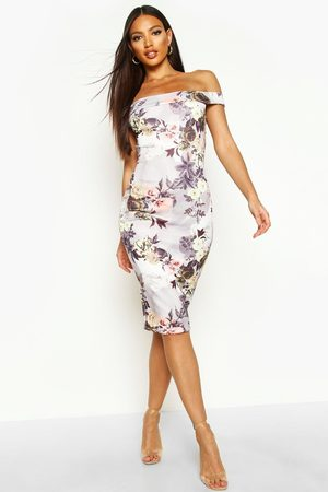 Boohoo Womens Off The Shoulder Floral Midi Dress - - 4