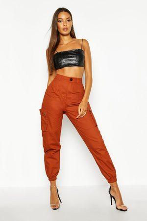 Boohoo Womens High Waist Woven Pocket Cargo Pants - - 2