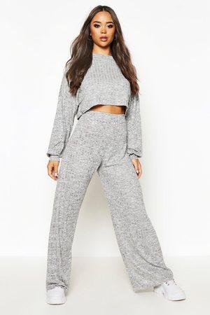 Boohoo Women Crop Tops - Womens Oversized Slouch Crop Top&Wide Pants Two-Piece Set - - 2