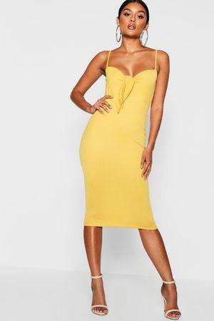 Boohoo Womens Skinny Strap Tie Front Midi Dress - - 4
