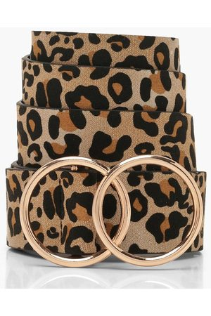 Boohoo Womens Leopard Belt With Gold Double Ring - - One Size
