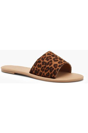 Boohoo Womens Basic Leopard Sliders - - 5