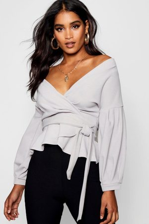 Boohoo Womens Bell Sleeve Wrap Over Top - - 6