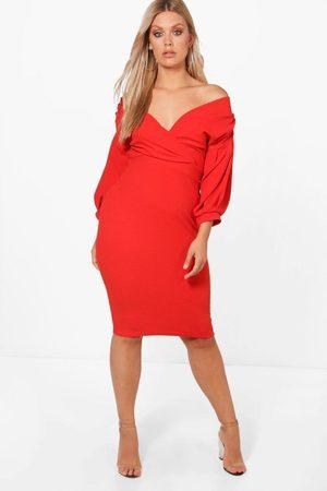 Boohoo Womens Plus Off The Shoulder Wrap Midi Dress - - 20