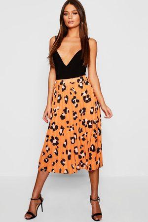Boohoo Womens Pleated Leopard Print Midi Skirt - - 4
