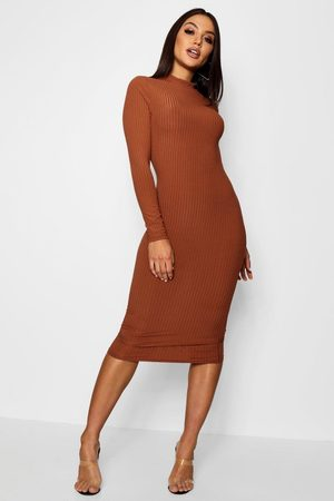 Boohoo Womens Ribbed High Neck Long Sleeved Midi Dress - - 4