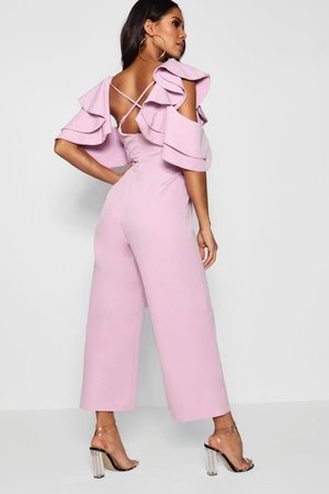 Boohoo Womens Statement Ruffle Cross Back Jumpsuit - - 4