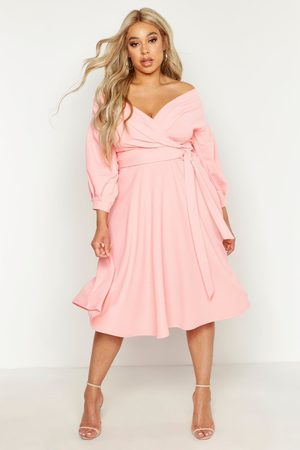 Boohoo Womens Plus Off Shoulder Full Skirted Wrap Midi Dress - - 12