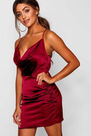 Boohoo Womens Florence Satin Cowl Neck Bodycon Dress - - 2