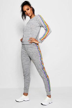 Boohoo Womens Rainbow Lounge Set - - S