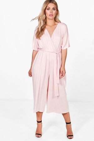 Boohoo Women Kimonos - Womens Plus Jersey Kimono Sleeve Wrap Jumpsuit - - 12