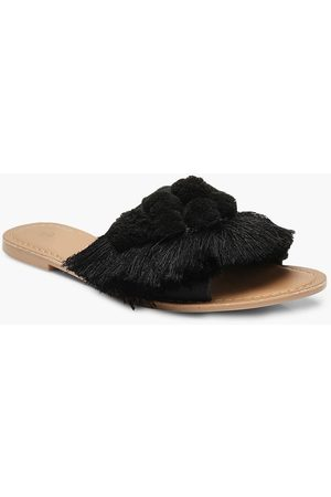 Boohoo Womens Pom Pom Frill Leather Sliders - - 5