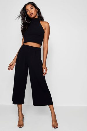 Boohoo Womens Rose High Neck Crop & Long Culotte Co-Ord Set - - 2