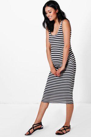 Boohoo Womens Maternity Stripe Strappy Midi Bodycon Dress - - 4