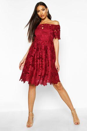 Boohoo Womens Boutique Off Shoulder Lace Skater Dress - - 4