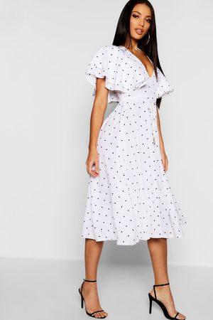 Boohoo Womens Mini Polka Dot Ruffle Angel Sleeve Midi Dress - - 12