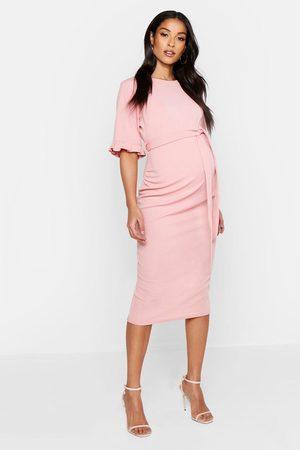 Boohoo Womens Maternity Ruffle Midi Bodycon Dress - - 4