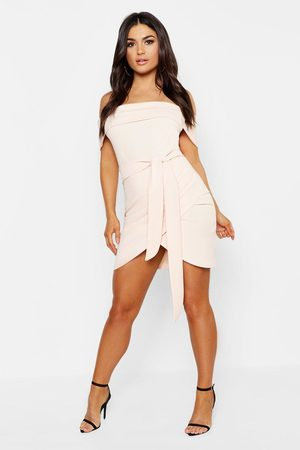Boohoo Womens Off The Shoulder Wrap Detail Bodycon Dress - - 2