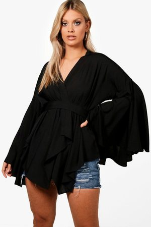 Boohoo Womens Plus Extreme Sleeve Wrap Front Tie Top - - 12