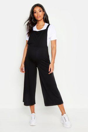 Boohoo Womens Maternity 2 In 1 Rib T-shirt & Dungaree Set - - 4