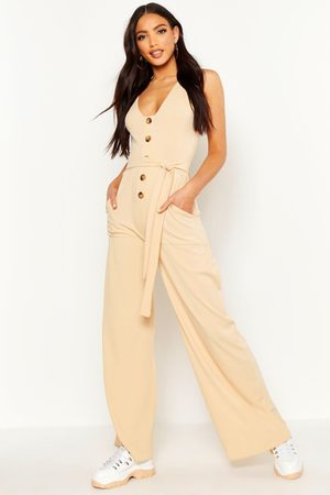 Boohoo Womens Horn Button Ribbed Tie Belt Pocket Jumpsuit - - 4