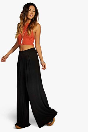 Boohoo Women Wide Leg Pants - Womens Basic Pin Tuck Soft Wide Leg Pants - - 4