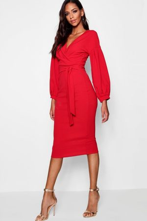 Boohoo Womens Tall Off The Shoulder Wrap Midi Bodycon Dress - - 4