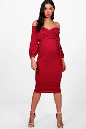 Boohoo Womens Maternity Off The Shoulder Wrap Midi Dress - - 10