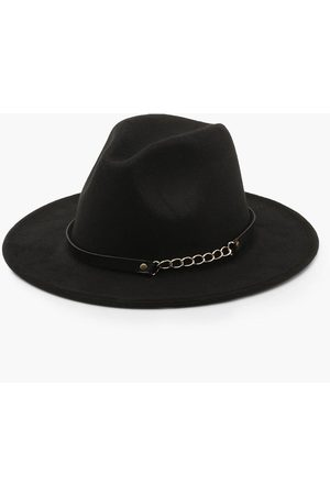 Boohoo Womens Chain Detail Fedora Hat - - One Size