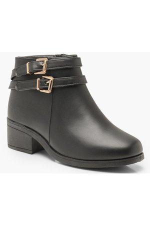 Boohoo Womens Wide Width Double Buckle Chelsea Boots - - 5
