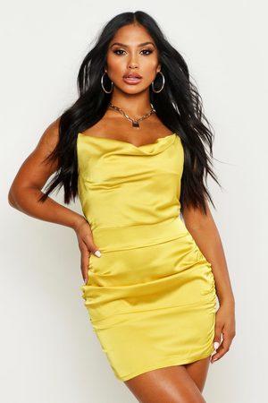 Boohoo Womens Florence Satin Cowl Neck Bodycon Dress - - 6