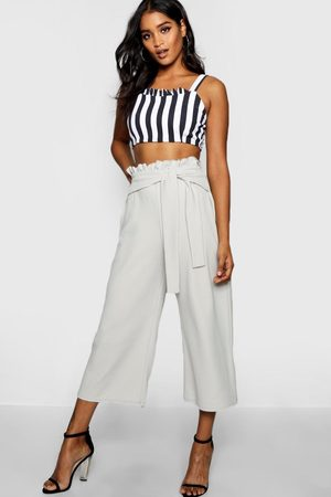 Boohoo Womens Crepe Paperbag Tie Waist Culottes - - 2
