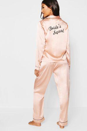 Boohoo Womens Brides Squad Satin Pants Set - - 2