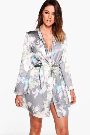 Boohoo Womens Satin Floral Print Robe - - S