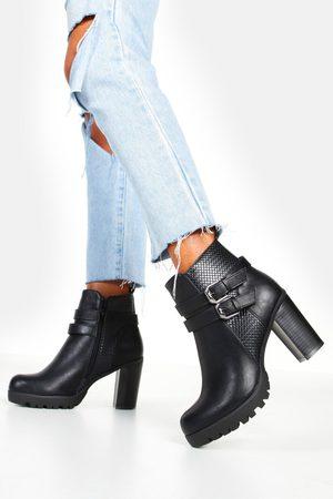 Boohoo Womens Double Buckle Block Heel Chelsea Boots - - 5