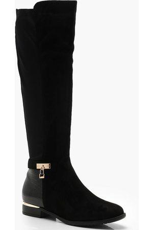 Boohoo Women Thigh High Boots - Womens Croc Panel Stretch Back Flat Knee High Boots - - 5