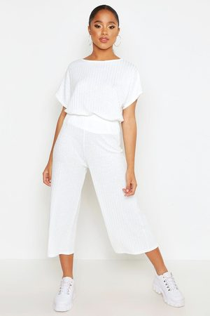 Boohoo Womens Rib Slouchy Top & Culotte Two-Piece Set - - 6