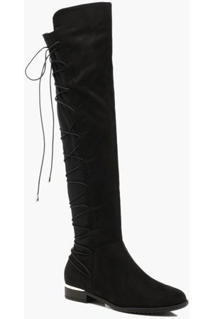 Boohoo Womens Bungee Lace Back Knee High Boots - - 5