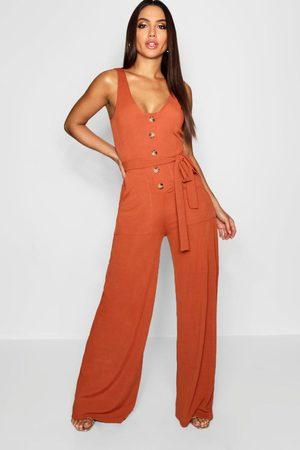 Boohoo Womens Horn Button Rib Tie Belt Pocket Jumpsuit - - 4