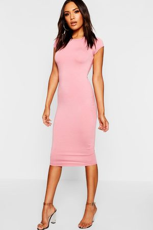 Boohoo Women Bodycon Dresses - Womens Cap Sleeve Jersey Bodycon Midi Dress - - 8