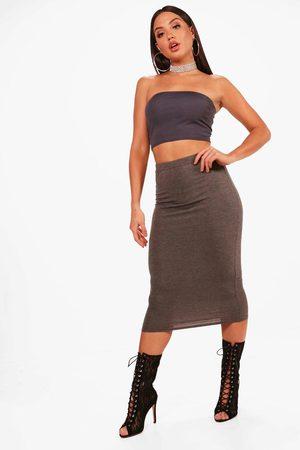 Boohoo Womens Basic Midi Jersey Tube Skirt - - 2