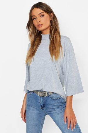 Boohoo Womens Basic Oversized High Neck 3/4 Sleeve T-Shirt - - 2