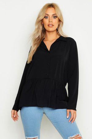 Boohoo Womens Plus Peplum Hem Shirt - - 12