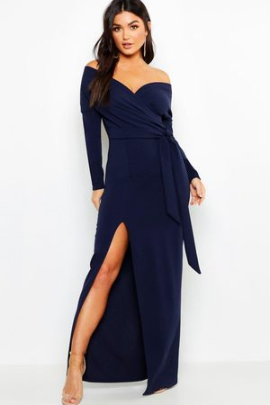 Boohoo Womens Off The Shoulder Wrap Thigh Split Maxi Dress - - 4