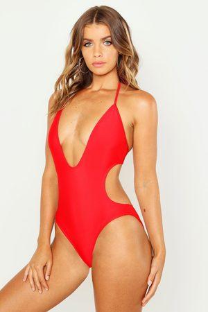Boohoo Womens Kos Deep Plunge bathing suit - - 2
