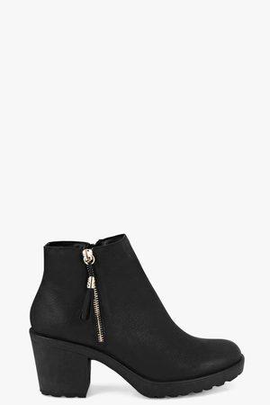 Boohoo Womens Fringe Trim Block Heel Chelsea Boots - - 5