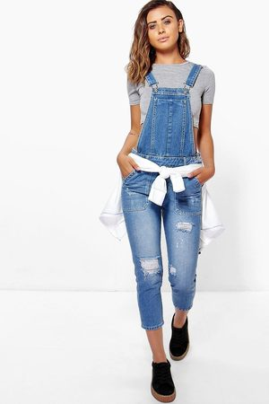 Boohoo Womens Petite Mid Distressed 3/4 Overall - 2
