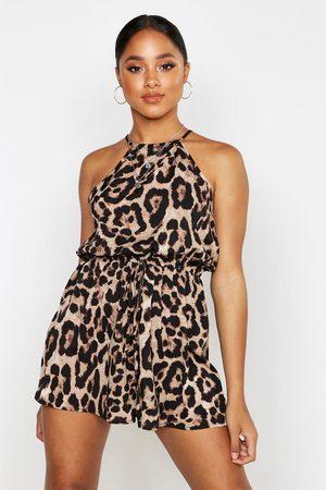 Boohoo Womens Leopard Strappy Romper - - 4