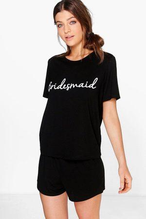Boohoo Womens Bridesmaid Bridal T-shirt And Shorts PJ Set - - 2