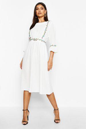 Boohoo Womens Embroidered Ruffle Sleeve Midi Dress - - 4